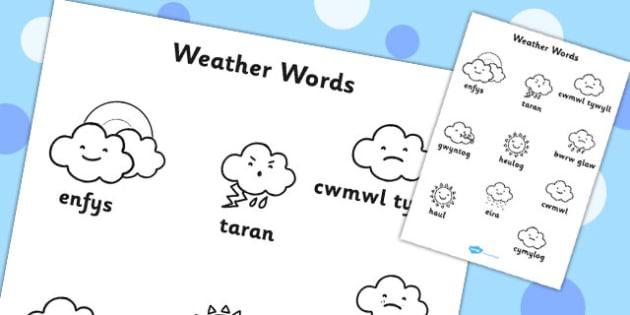 Weather Words Colouring Sheet Welsh Translation - seasons, wales