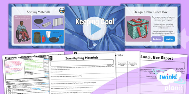 PlanIt Science Year 5 Properties And Changes Of Materials Lesson 2 Keeping Cool Lesson Pack - science, year 5, materials, topic, planning, resources, unit, opaque, transparent, hard, soft, rough, smooth, dissolving, solids, liquids, gases