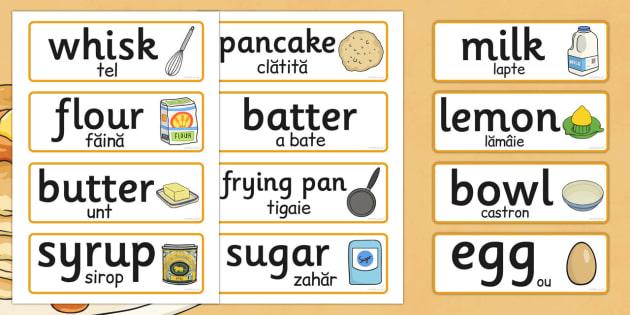 Pancake Day Recipe Word Cards EAL Romanian Translation - romanian