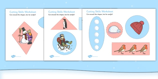 Winter Themed Cutting Skills Worksheet - winter, cutting skills, worksheet