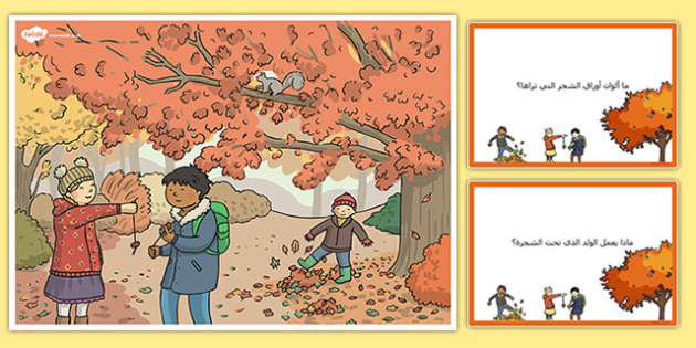 بطاقات مشهد خريفي واسئلة - بطاقات، الخريف، فصول السنة، موارد