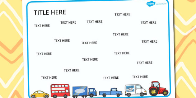 Transport Themed Editable Word Mat - literacy, words, writing