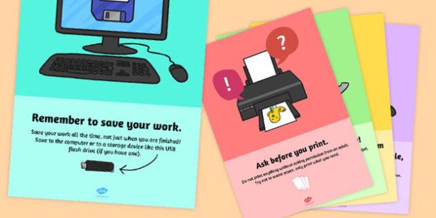 Computing Area Reminder Posters Pack - computing, ict, posters