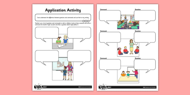 Questions and Commands Application Activity - Teacher and Pupils - sentences, exclamation marks, question marks, command, bossy verbs, questions