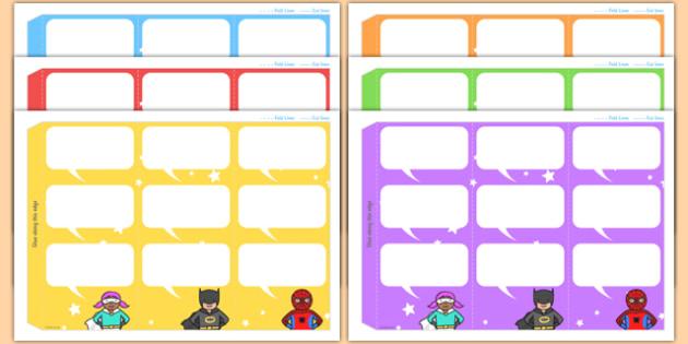 Superheroes Themed Standing Tabletop Targets - superheroes, superheroes themed, table top targets, targets, class targets, themed targets, class management