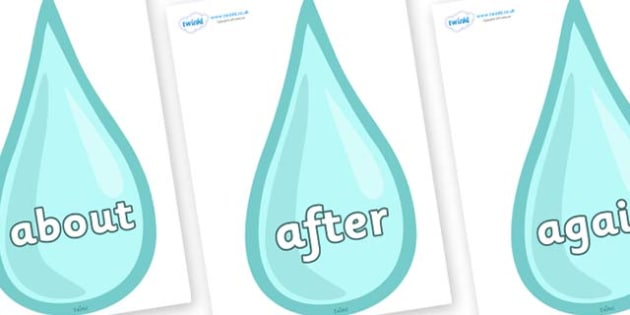 KS1 Keywords on Water Drops - KS1, CLL, Communication language and literacy, Display, Key words, high frequency words, foundation stage literacy, DfES Letters and Sounds, Letters and Sounds, spelling
