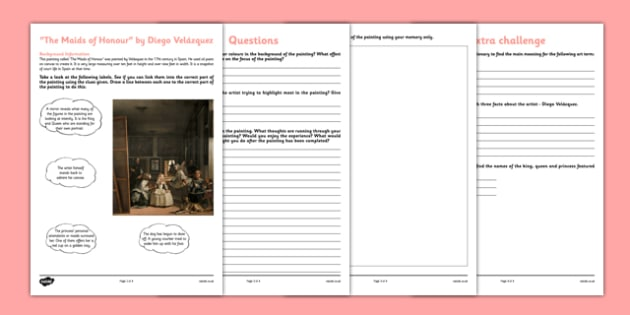 The Maids of Honour by Velázquez Art Appreciation Activity Sheet - art, appreciation, activity sheet, Maids of Honour, Velázquez, worksheet