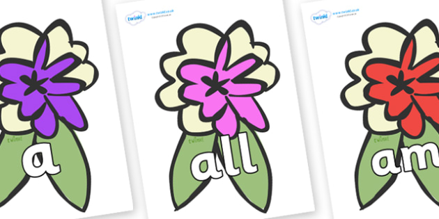 Foundation Stage 2 Keywords on Corsages - FS2, CLL, keywords, Communication language and literacy,  Display, Key words, high frequency words, foundation stage literacy, DfES Letters and Sounds, Letters and Sounds, spelling
