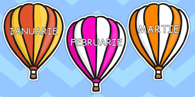 Months of the Year on Hot Air Balloons Stripes Romanian - month, years, pattern, Romania