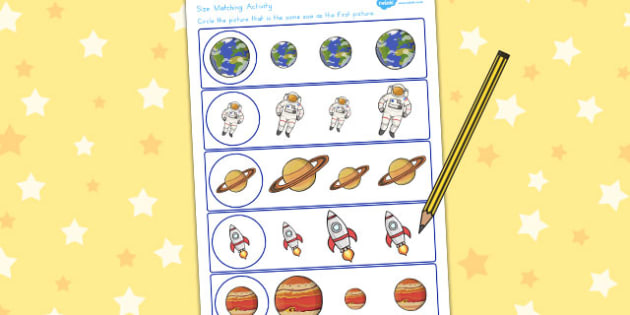 Space Themed Size Matching Worksheet - australia, space, size
