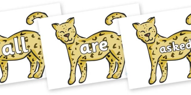 Tricky Words on Leopards - Tricky words, DfES Letters and Sounds, Letters and sounds, display, words