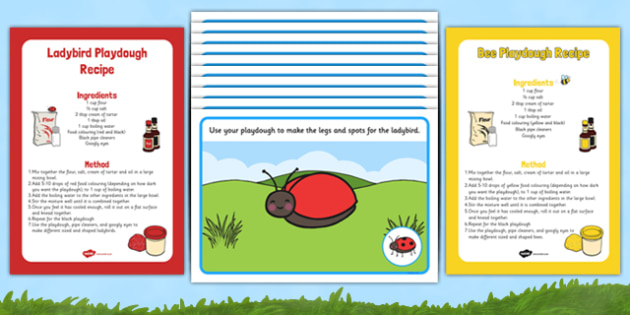 Minibeasts Playdough Recipes and Mat Pack - Fine motor skills, malleable, insects, ladybird, butterfly, bee