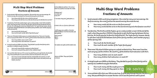 Number Names Worksheets word problems equivalent fractions – Maths Word Problems Year 6 Worksheets