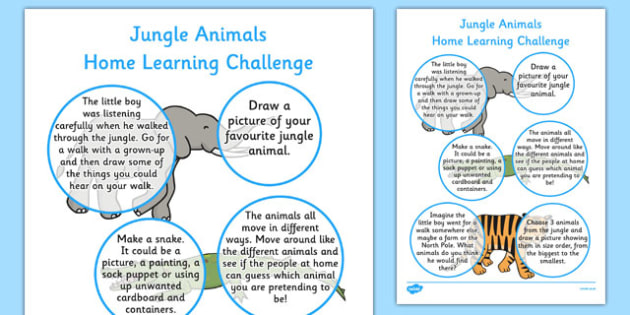 Home Learning Challenge Sheet Jungle Animals Themed Reception FS2 - walking through the jungle