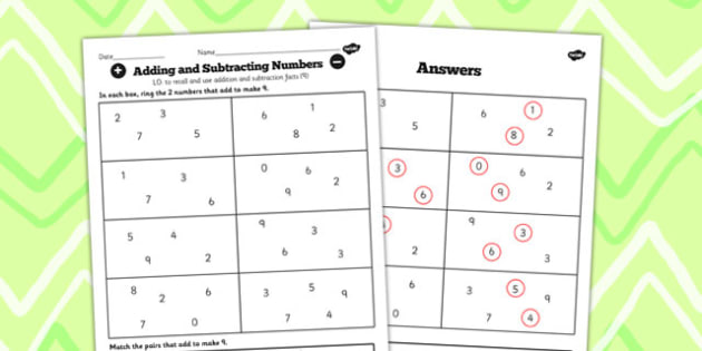 Number Facts to 20 Find Pairs to 9 Worksheet - number, facts