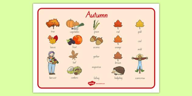 Autumn Word Mat