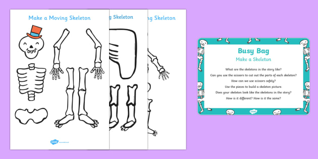Make a Skeleton Busy Bag Prompt Card and Resource Pack