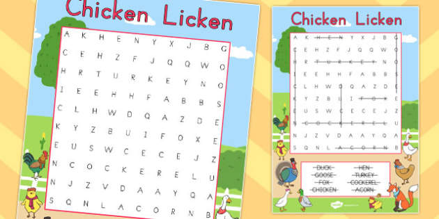 Chicken Licken Wordsearch - australia, chicken licken, wordsearch