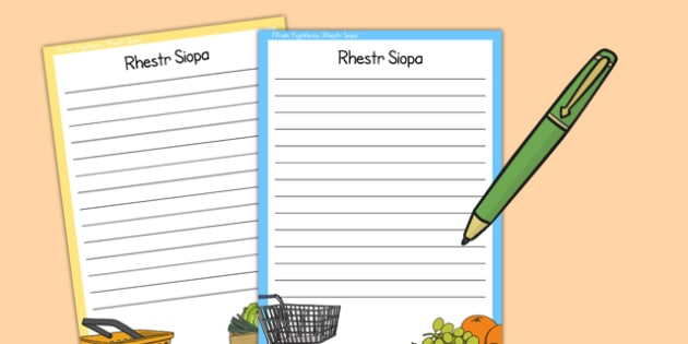 Shopping List Writing Template (Welsh Translation) - writing aid