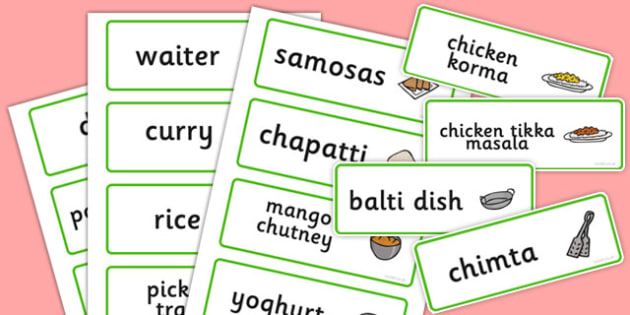 Indian Restaurant Role Play Word Cards - Indian restaurant, role play, curry, food, takeaway, word cards, flashcards, Indian culture, India, menu, poppdom