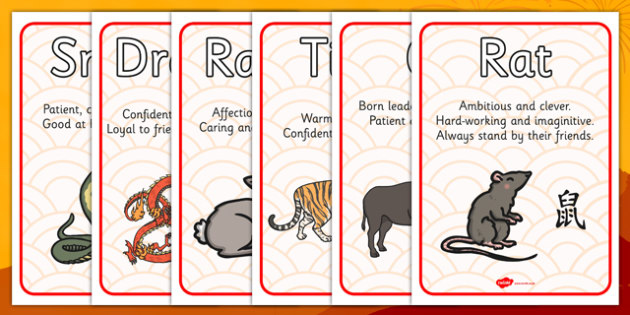Chinese New Year Zodiac Animal Characteristics - Display Posters, Chinese new year animals, A4, display, posters, China, lantern, dragon, chopsticks, noodles, year of the rabbit, ox, snake, fortune cookie, pig