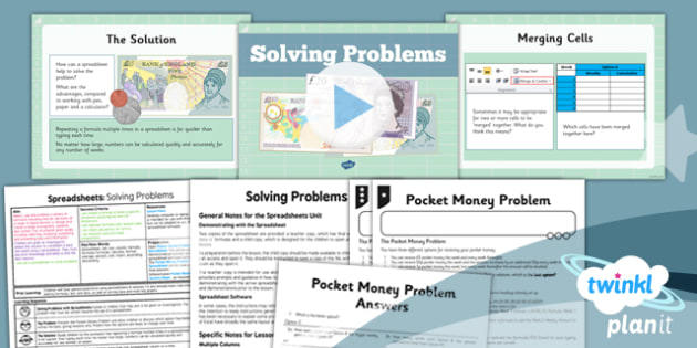 PlanIt - Computing Year 6 - Spreadsheets Lesson 4: Solving Problems Lesson Pack