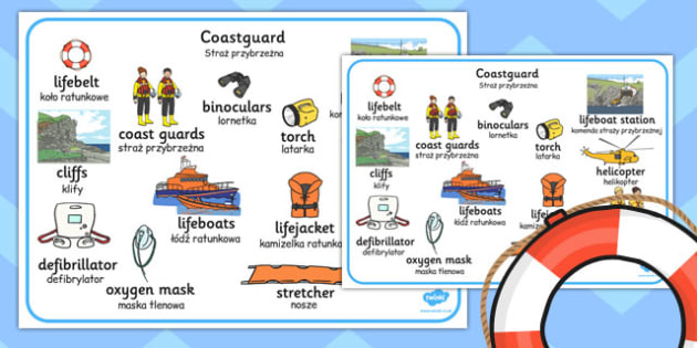 Coastguard Word Mat Polish Translation - polish, coastguard, word mat