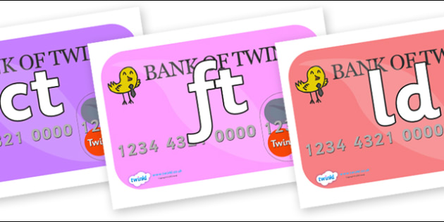Final Letter Blends on Debit Cards - Final Letters, final letter, letter blend, letter blends, consonant, consonants, digraph, trigraph, literacy, alphabet, letters, foundation stage literacy