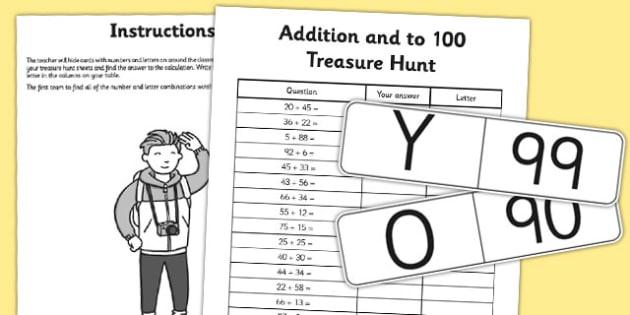 Addition to 100 Treasure Hunt Activity - addition, treasure, hunt