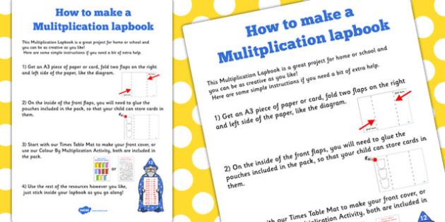 Multiplication Lapbook Instructions Sheet - lapbooks, instructions
