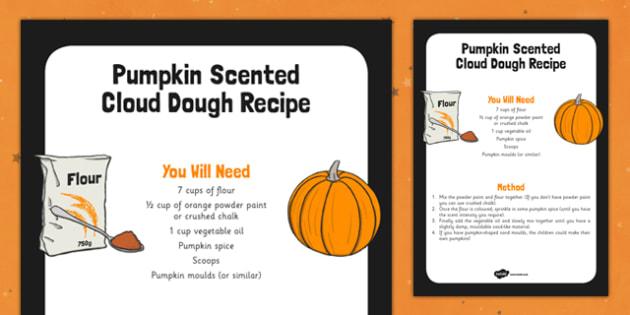 Pumpkin Scented Cloud Recipe - food, halloween, vegetable, art, design, early years