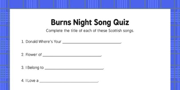 Burns Night Song Quiz - Elderly, Reminiscence, Care Homes, Burns' Night