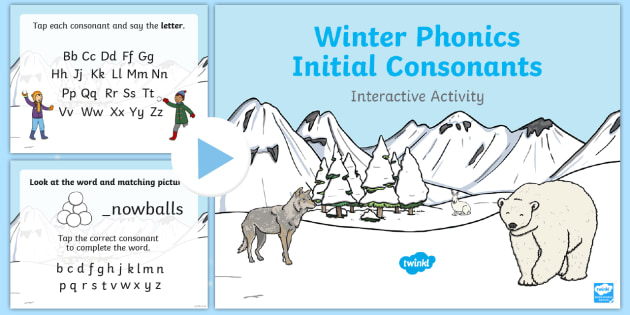 Winter Phonics Initial Consonants Interactive PowerPoint - Winter, consonants, phonics, initial sounds