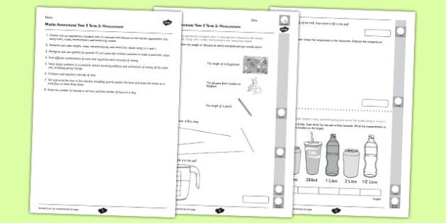 Year 2 Maths Assessment Measurement Term 2  - year 2, maths, assessment, measurement, term 2