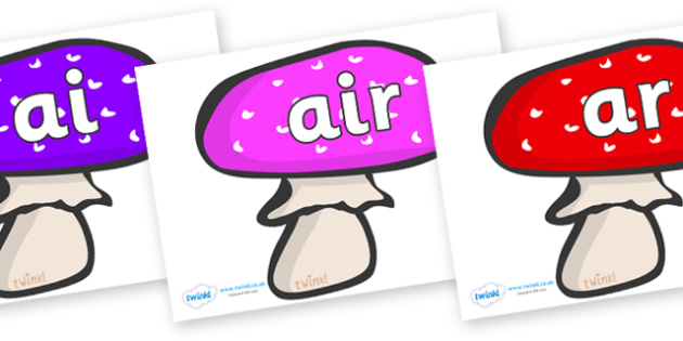Phase 3 Phonemes on Mushrooms - Phonemes, phoneme, Phase 3, Phase three, Foundation, Literacy, Letters and Sounds, DfES, display