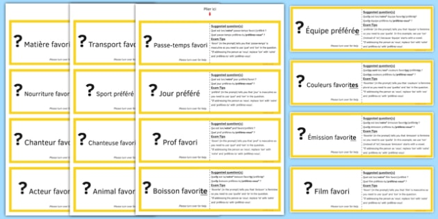 GCSE Français Poser des questions (Favori) Jeu de cartes - Asking, ask, questions, cards, cartes, speaking, favourite, préféré