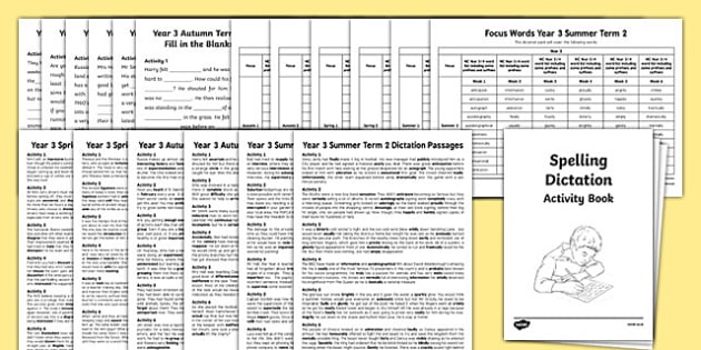 Year 3 Spelling Dictation Passages Assessment Pack