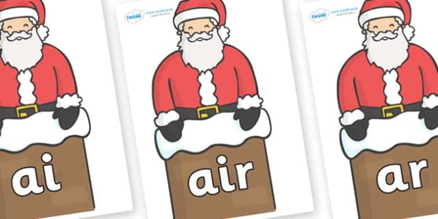 Phase 3 Phonemes on Santa (Chimney) - Phonemes, phoneme, Phase 3, Phase three, Foundation, Literacy, Letters and Sounds, DfES, display