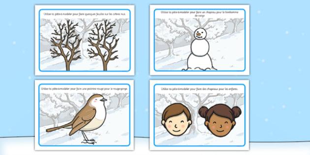 Winter Playdough Mats French - french, winter, playdough mats, playdough, mats