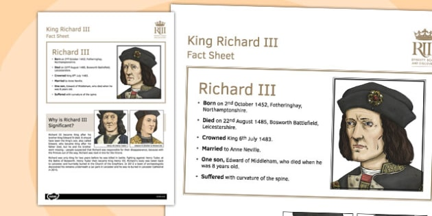 Richard III Fact Sheet - richard III, fact sheet, fact, sheet