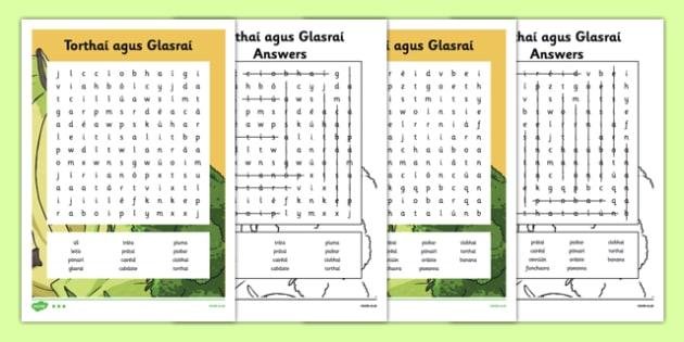 Irish Gaeilge Torthaí agus Glasraí Word Search - irish, gaeilge, torthai agus glasrai, word search, activity