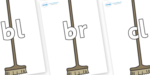 Initial Letter Blends on Brushes - Initial Letters, initial letter, letter blend, letter blends, consonant, consonants, digraph, trigraph, literacy, alphabet, letters, foundation stage literacy