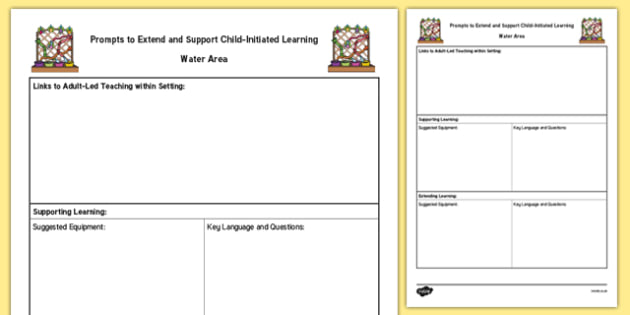 Water Area Adult Support Prompt Sheet Template - early years, reception, continuous provision, foundation, plan, planning