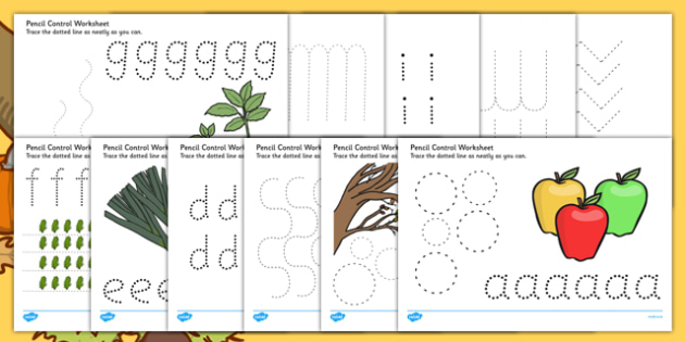 Autumn and Harvest Themed Pencil Control Sheets A-Z - autumn, harvest, pencil control