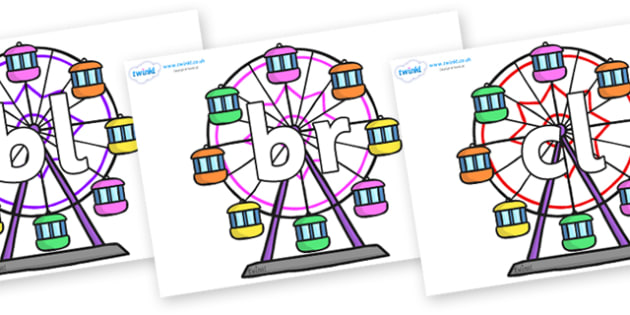 Initial Letter Blends on Ferris Wheels - Initial Letters, initial letter, letter blend, letter blends, consonant, consonants, digraph, trigraph, literacy, alphabet, letters, foundation stage literacy