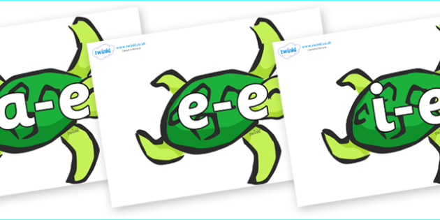 Modifying E Letters on Turtles - Modifying E, letters, modify, Phase 5, Phase five, alternative spellings for phonemes, DfES letters and Sounds
