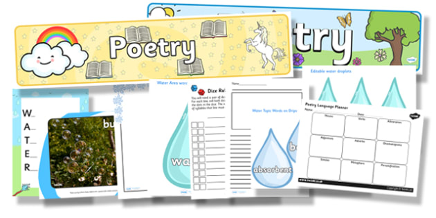 National Poetry Day Water Themed Resource Pack - national poetry day, water, resource pack, poetry, themed resource pack, pack of resources, poetry pack
