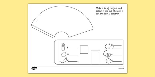 Free Worksheets year 2 shapes worksheet : African Surprise Hut Paper Model Template - templates, frame