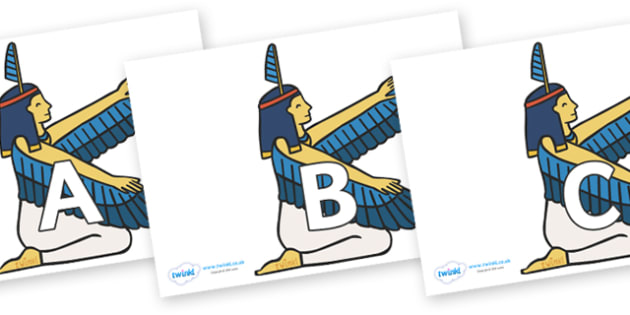 A-Z Alphabet on Egyptian - A-Z, A4, display, Alphabet frieze, Display letters, Letter posters, A-Z letters, Alphabet flashcards