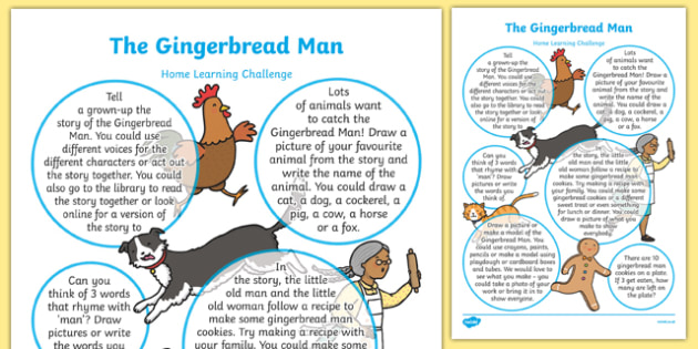 The Gingerbread Man Home Learning Challenge Sheet Reception FS2
